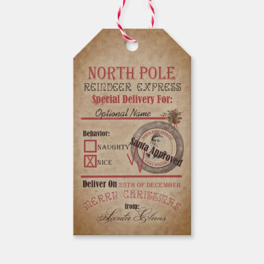north pole reindeer express naughty or nice santa gift tags zazzle ca