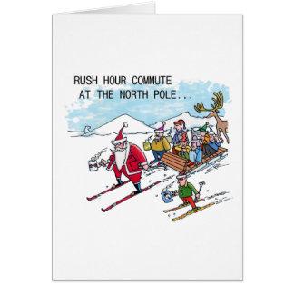 North Pole Rush Hour humor Christmas greeting card