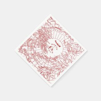 North Pole Santa Map Napkins Paper Napkins