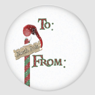 north pole sign gift tag