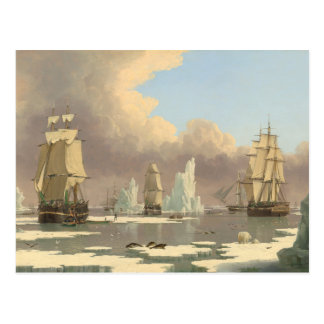 North Pole Three Masted Ships Ocean Scene Postcard