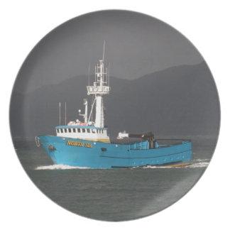 North Sea, Crab Fishing Boat in Dutch Harbor, AK Plates