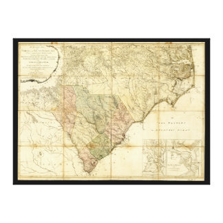 North & South Carolina Map (1775) Canvas Print