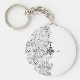 North South East & Westie Dog Basic Round Button Keychain
