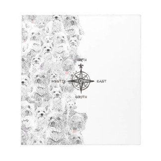 North South East & Westie Dog Notepad