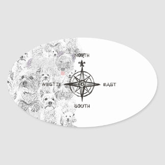 North South East & Westie Dog Oval Sticker