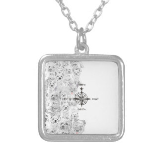 North South East & Westie Dog Silver Plated Necklace