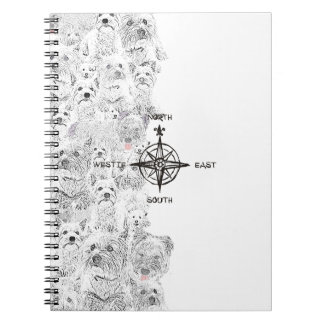 North South East & Westie Dog Spiral Notebook