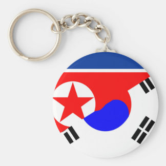 north south korea half flag country symbol keychain