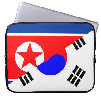 north south korea half flag country symbol laptop computer sleeve