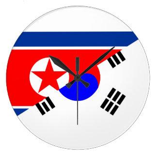north south korea half flag country symbol large clock