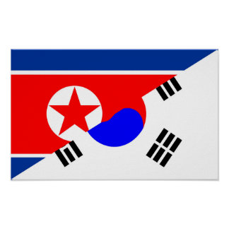 north south korea half flag country symbol poster
