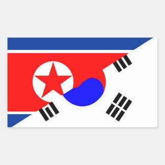 north south korea half flag country symbol sticker