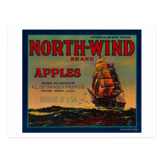 North Wind Apple Crate LabelYakima, WA Postcard