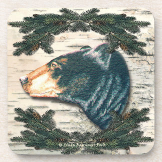 North Woods Black Bear Birch Bark Pine Drink Coaster