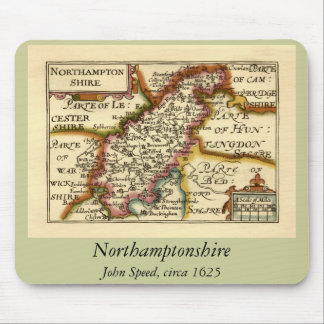 Northamptonshire County Map, England Mouse Pad