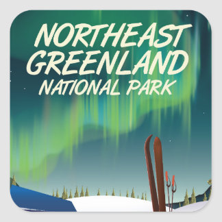 Northeast Greenland travel poster Square Sticker