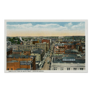 Northern Aerial View of Main Street Poster