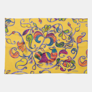 Northern Bird on Yellow Kitchen Towel
