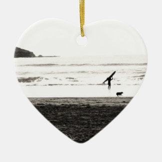 Northern California Beach Scene Ceramic Ornament