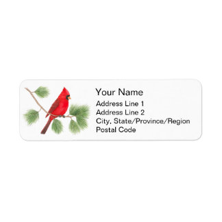 Northern Cardinal Address Labels