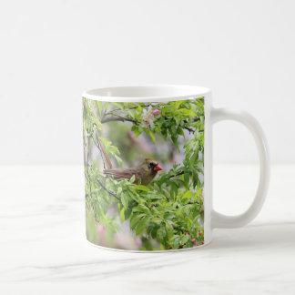 Northern Cardinal and spring blossoms Coffee Mug