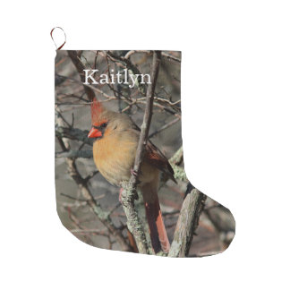 Northern cardinal female large christmas stocking