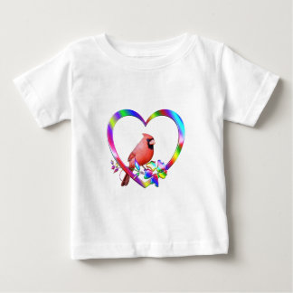 Northern Cardinal in Colorful Heart Baby T-Shirt