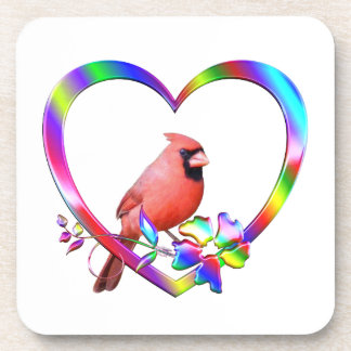 Northern Cardinal in Colorful Heart Coaster
