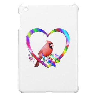 Northern Cardinal in Colorful Heart iPad Mini Cover
