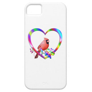 Northern Cardinal in Colorful Heart iPhone 5 Case