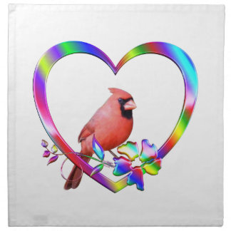 Northern Cardinal in Colorful Heart Napkin