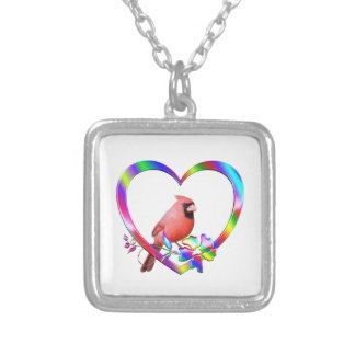 Northern Cardinal in Colorful Heart Silver Plated Necklace