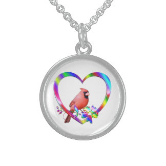 Northern Cardinal in Colorful Heart Sterling Silver Necklace