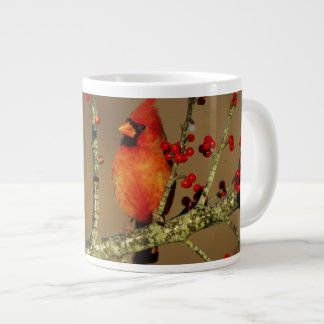 Northern Cardinal male perched, IL Giant Coffee Mug