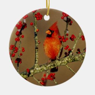 Northern Cardinal male perched, IL Round Ceramic Ornament