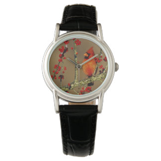 Northern Cardinal male perched, IL Wrist Watch