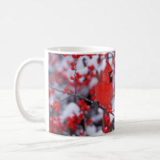 Northern Cardinal male, Winter, IL Coffee Mug