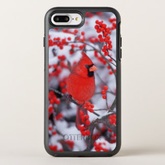Northern Cardinal male, Winter, IL OtterBox Symmetry iPhone 7 Plus Case