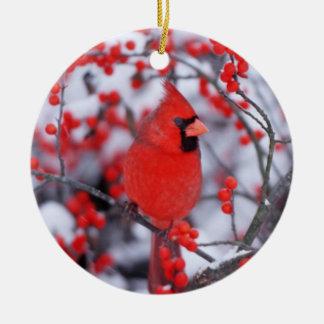 Northern Cardinal male, Winter, IL Round Ceramic Ornament