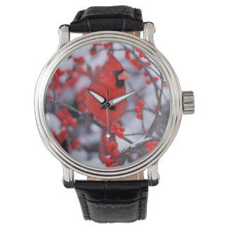 Northern Cardinal male, Winter, IL Wristwatch