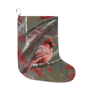 Northern cardinal perched on a tree branch large christmas stocking