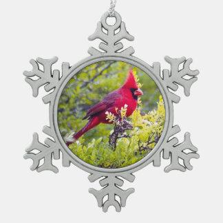 Northern Cardinal Pewter Snowflake Ornament