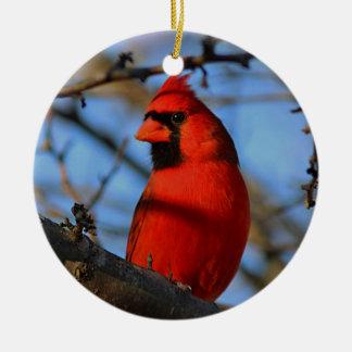 Northern cardinal round ceramic ornament
