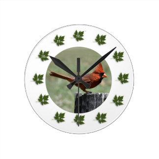 Northern Cardinal Round Clock