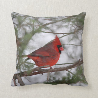 Northern cardinal throw pillow