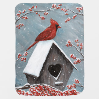 Northern Cardinal Winter Snow Baby Blankets