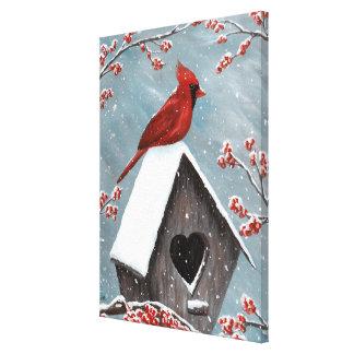 Northern Cardinal Winter Snow Canvas Print