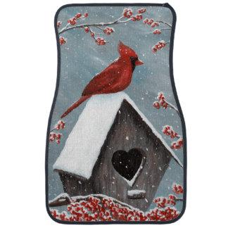 Northern Cardinal Winter Snow Car Carpet