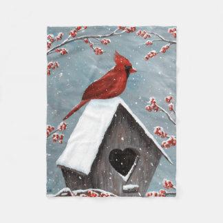 Northern Cardinal Winter Snow Fleece Blanket